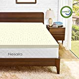 Nesaila 3 Inch Latex Mattress Topper Queen,100% Natural Latex-Infused Mattress Pad Queen Bed Toppers-Premium Mattress Topper with Removable Cover