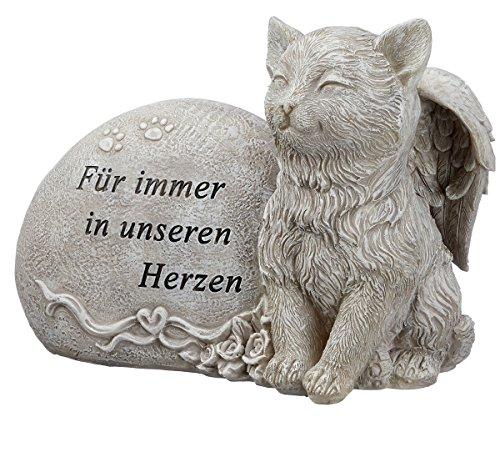 Unbekannt Grabdeko Katze mit Engelsflügeln Spruch Grabstein 17 cm Grau