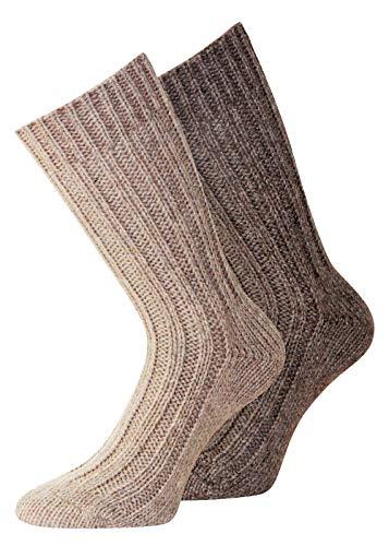 Herren und Damen Alpaka Wollsocken Socken aus Wolle Gr. 39-42, 2 Paar beige/braun)