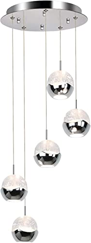 discount Pendant Lights Fixture, 5-Light Led-Integrated Pendant Lamp, Premium Bubble Globe with Chromed Finished, 4000K, high quality 30W (180 Watt Equivalent) online CRI 90+, 2250lm, ETL Listed sale