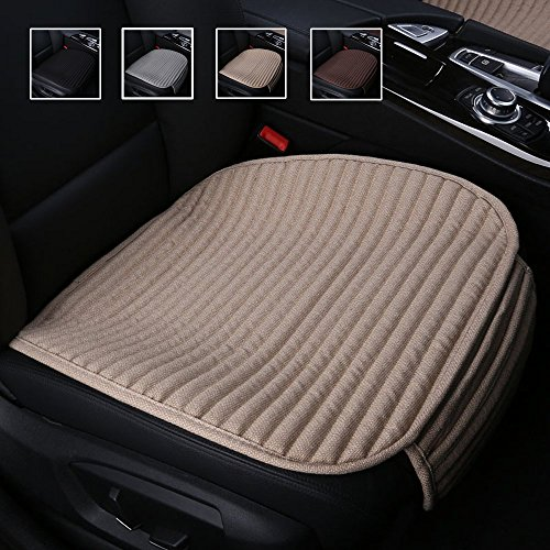 Beige Car Seat Covers,Car Seat Pads Cushions for Automobiles,Suninbox Buckwheat Hulls Universal Bottom Seat Cover,Tan Driver Car Seat Protector(Beige Front Seats Only)