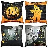 YUESUO Halloween Pillows Covers 18x18 Set of 4, Halloween Pillow Case Pumpkin Cat Monster Mummy Halloween Linen Cushion Case for Sofa Couch Home Decor 18 x 18 Inch/45 x 45 cm