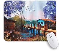 NIESIKKLAマウスパッド 古い橋とカモメのある漁村の湖の家ヴィンテージ手描きの職人の写真 ゲーミング オフィス最適 高級感 おしゃれ 防水 耐久性が良い 滑り止めゴム底 ゲーミングなど適用 用ノートブックコンピュータマウスマット