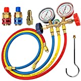 LIYYOO Refrigerant Charging Hose, with Pressure Gauge and Hook Apply to R134A R12 R22 R502 R404 Refrigerant...