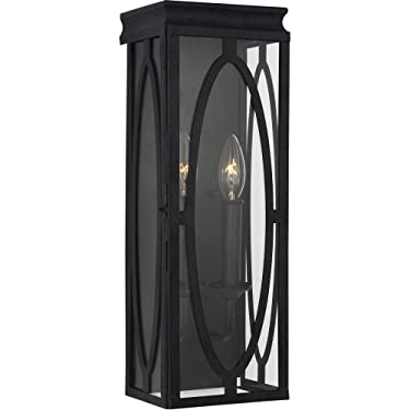 Murray Feiss Lighting OL14311DWZ Patrice 17.25 Inch Outdoor Wall Lantern Steel Approved for Damp Locations, Dark Weathered Zinc Finish with Undefined Glass
