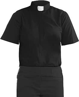 H.F. Women's Short Sleeves Tab Collar Clergy Shirt - Black