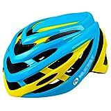 YoLiy Cascos Moto Casco for Montar en Bicicleta Hombres y Mujeres Gorra de Casco de Bicicleta de montaña en Molde Equipo de Casco de Gran tamaño Medida de Seguridad (Color : Blue Yellow, Size : L)