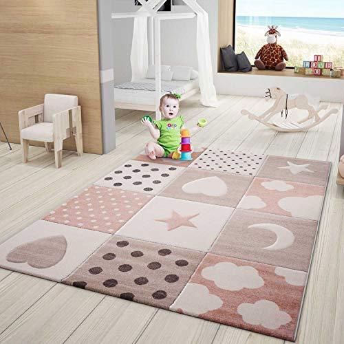 VIMODA Tappeto Bambini Tappeto Rosa Cameretta dei Bambini Babyteppich con Cuore Stelle Luna - Rosa, 120x170 cm