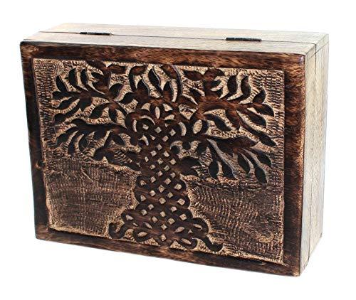 budawi- Holztruhe Lebensbaum Tree Mangoholz Baum des Lebens Holzbox Holzkiste Schmuckkästchen