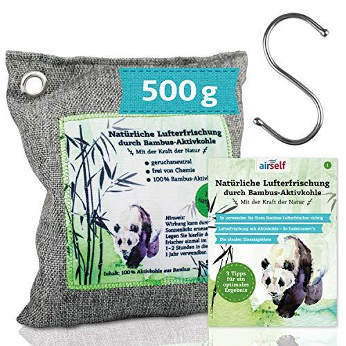 Bambus Aktivkohle Lufterfrischer, 500 g – Natürlicher Raumerfrischer & Geruchsentferner ohne Chemie – mit Haken
