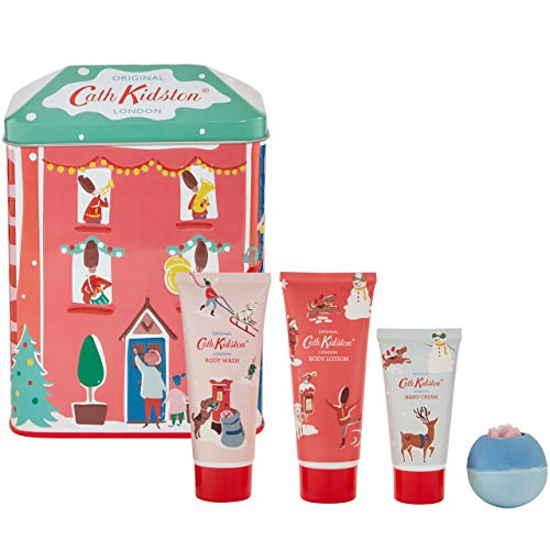Cath Kidston Beauty Christmas Bathing House Tin, 100 ml Body Lotion, 100 ml Body Wash and 50 ml Hand Cream, 80 g Bath Fizzer