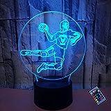 Ilusión Optica 3D Balonmano Luz de Noche 16 Colores que Cambian Control Remoto USB Poder Touch Switch Decor Lámpara LED Mesa Lámpara Niños Juguetes Cumpleaños Navidad Regalo