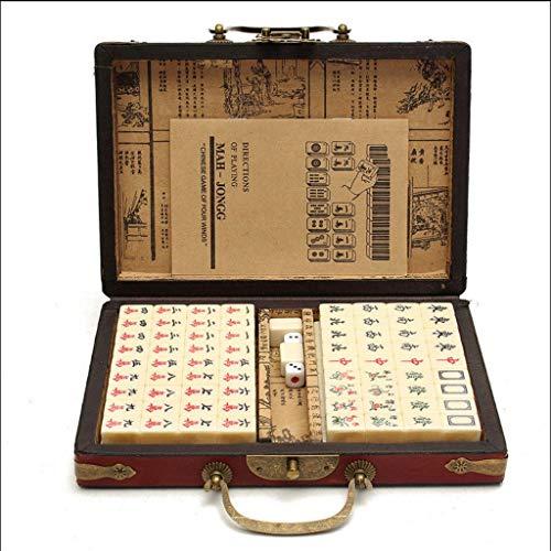 DUOER home-Mahjongg Top Qualität Kartenspiele 144 Fliesen Mah-Jong Set Multi-Color Tragbare Vintage Mahjong Seltene Chinesische Spielzeug Mit Bambus Box Party Geschenke