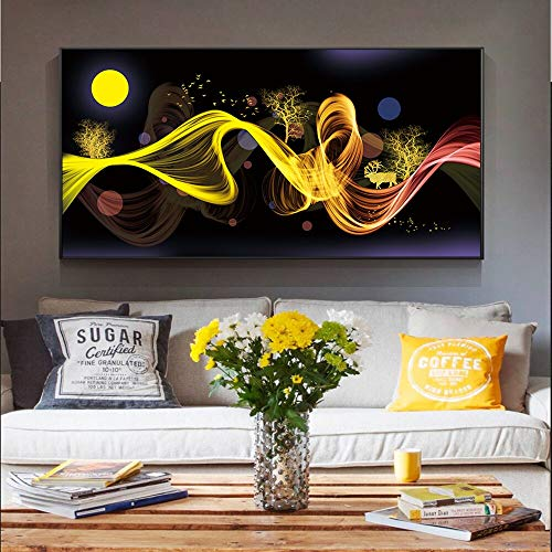 Quadro Senza corniceNordic Abstract Moon Scenario Canvas Bed Room Room Wall Decoration Modern Golden Wall Art canvas60X120cm