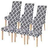 Fundas de Silla Comedor Elásticas y Modernas 6 Piezas,Cubiertas de Sillas para el Comedor Casero Modern Bouquet de la Boda Hotel Decor Fundas Protectoras para sillas, Extraíbles y Lavables(Gris)