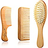 3 Pieces Wooden Detangling Comb Set Wooden Wide Tooth Comb No Static Wooden Bamboo Paddle Hair Brush...