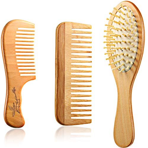 3 Pieces Wooden Detangling Comb Set Wooden Wide Tooth Comb No Static Wooden Bamboo Paddle Hair Brush Scalp Comb Sandalwood Hair Comb for Curly Hair Dry Wet