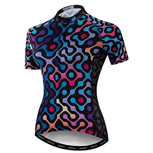 Womens Ciclismo Jersey Manica Corta Ciclo Camicia Da Corsa Pantaloncini Bicicletta Bici Ragazza Abbigliamento Sportivo - - XL (petto 99/ 106 cm)
