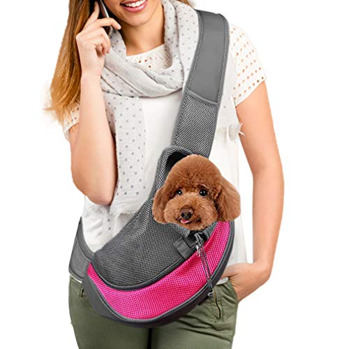Companet Pet Carrier Sling,Breathable Mesh Pouch,Single Shouder Tote Bag for Dog Cat Puppy Doggy Small Animals Below 5lb Outdoor Walking Carrying & Travel