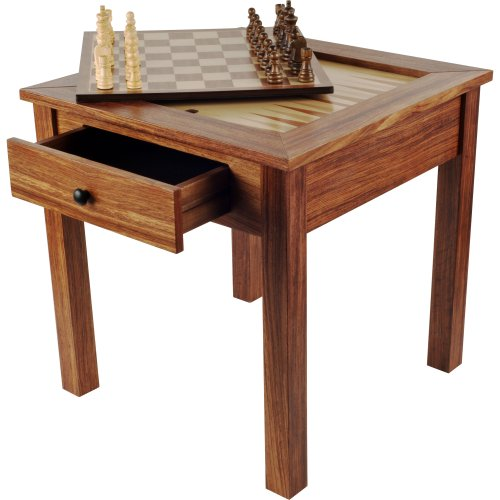 Hey! Play! Wood 3-in-1 Chess Backgammon Table