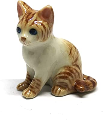 ZOOCRAFT Ceramic Siamese Cat Figurine Brown Hand Painted Porcelain Miniature Collectible