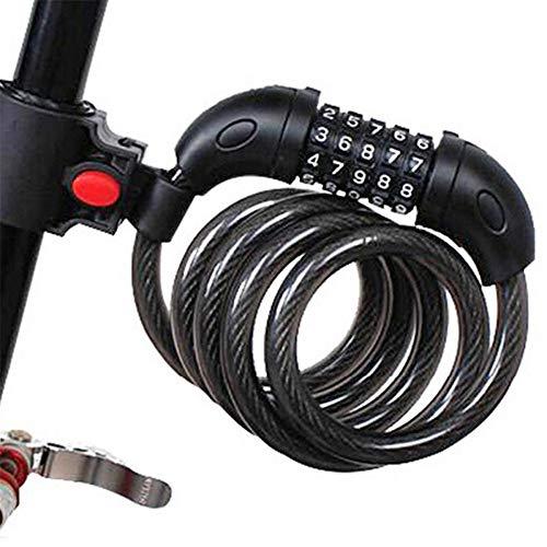 LRFSD Fahrradverriegelungskabel, 5-stellige Hochsicherheitskombination, rücksetzbar mit kostenloser Montagehalterung, für Fahrräder im Freien, 4 Fuß lang, schwarz