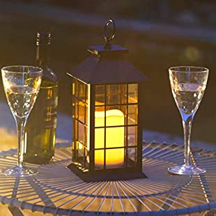 Garden Mile Large Steel Hurricane LED Candle Lanterns Steel & Glass Hanging Candle Lantern Patio Table Lantern Or Window Centrepiece Indoor Or Outdoor Use Battery Operated:Delocitypvp