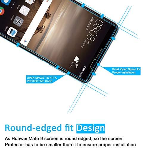 NEW'C PanzerglasFolie Schutzfolie für Huawei Ascend Mate 9, [2 Stück] Frei von Kratzern Fingabdrücken und Öl, 9H Härte, HD Displayschutzfolie, 0.33mm Ultra-klar, DisplayschutzfolieMate 9 - 2