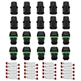 (10 Pcs) MCIGICM 2 Pin Way 20-14 AWG Waterproof Electrical Connector 1.5mm Series Terminals Quick Locking Wire Harness Sockets