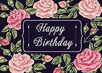 写真のための新しいピンクの花の誕生日の背景7x5ft / 2.1x1.5m花ハッピーバースデーの背景女の子バディパーティーの装飾写真撮影小道具BJZYST213