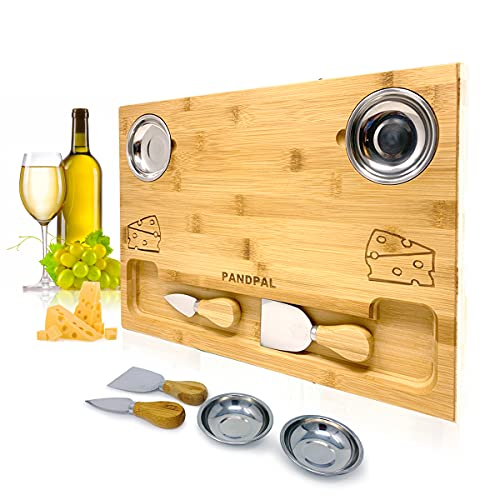 Bamboo Cheese Board Set, Charcuterie Food Serving Tray - BONUS Stainless Steel KNIVES & BOWLS, Extra LARGE [16x11x1] Wooden Cutting Board Platter for Wine, Cracker, Brie, Meat, Dip, Chip by PandPal
