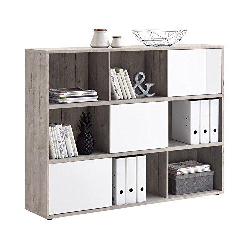 FMD Möbel Futura 3 UP Regal, Holz, sandeiche/Hochglanz-weiß, 145 x 33 x 110.5 cm
