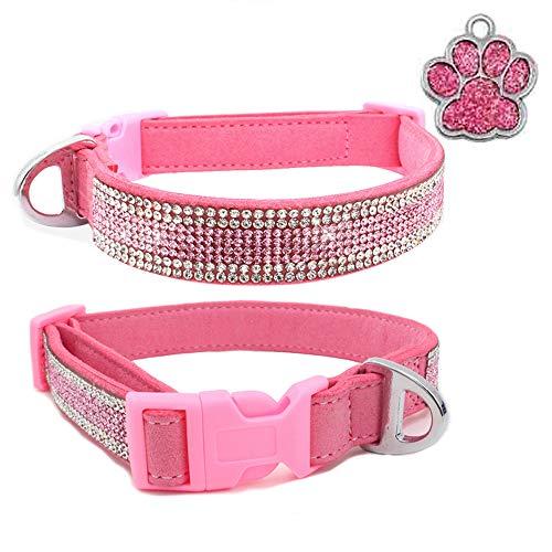 NashaFeiLi Hundehalsband, glitzernd, Strass-Halsband, elastisch, verstellbar, sichere Schnalle für Katzen, Welpen, kleine Hunde