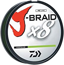Daiwa JB8U10-300CH J-Braid Braided Line, 10 Lbs Tested, 330 yd/300M Filler Spool, Chartreuse