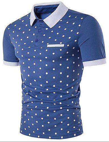 HAN-NMC Men 039;S de Sortir Tous Les Jours d'été Occasionnels/Simple Chemise,col Chemise à Pois Manches Courtes Coton,S,Blue