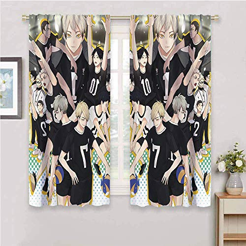 Anime Haikyuu!! Blackout Drapes Home Decor Haikyuu!! Blackout Curtains Thermal Insulated Rod Pocket Window Drapes for Living Room/Bedroom W55 x L45 Inch