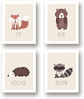 Woodland Animals Nursery Decor - Forest Animal Prints - Set of Four 11x14