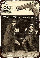 ヴィンテージレトロメタルサイン、1915コルト自動防護ピストル-最高のメタルサインレトロな家の装飾バーパブの家のヴィンテージティンサインポスター