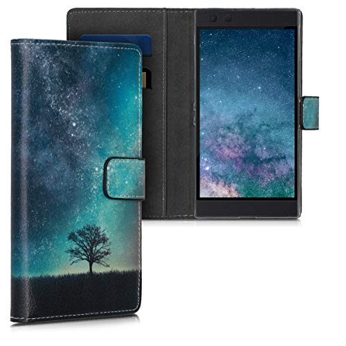 kwmobile Wallet Hülle kompatibel mit Razer Phone 2 - Hülle Kunstleder mit Kartenfächern Stand Galaxie Baum Wiese Blau Grau Schwarz
