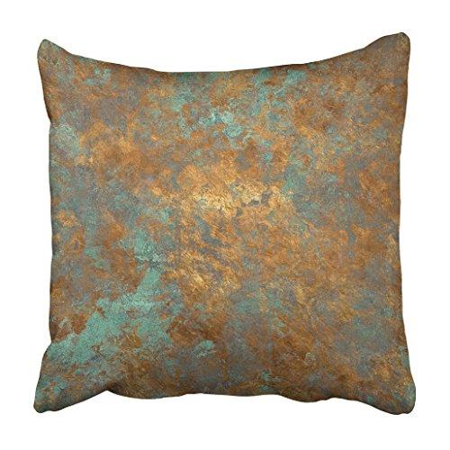 Emvency Funda de almohada de poliéster de 50 x 50 cm, decorativa, naranja, cobre, vintage, bronce, óxido de metal, pátina antigua, de lujo, decoración para sofá o hogar