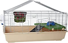Large small-animal habitat for pet rabbits, guinea pigs, or chinchillas Iron wire upper frame and PP plastic base; large top and front openings for easy inside access Includes non-drip water bottle, hay guard, and balcony with access ramp and tip-pro...