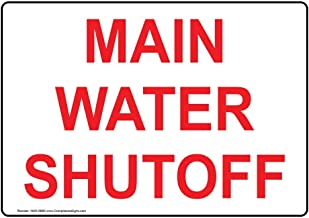 Main Water Shutoff Sign, 7x5 inch Aluminum for Emergency Response by ComplianceSigns