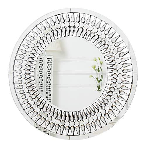 RICHTOP Espejo de Pared Redondo Grande Diseño Elegante Moderno con joyería de Gota Brillante lágrima Espejo de Pared montado en Cristal para Sala de Estar 70cm x 70cm