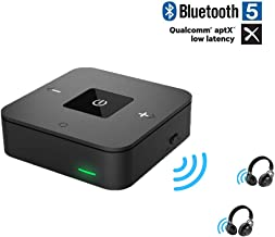 Friencity Bluetooth 5.0 Transmitter Receiver for TV, Aptx Low Latency Wireless Audio Adapter for PC Home Stereo PS4 Xbox Speaker Headphones, Voulme Control, Dual Link, 3.5mm AUX & RCA Digital Optical