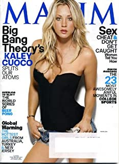 Maxim March 2010 Kaley Couco/The Big Bang Theory on Cover, World Series of Beer Pong, Hot Girls from Australia Turkey New Jersey, Kari Dioguardi/American Idol, Ben Kingsley/Shutter Island, Daniela Rush/NCIS: Los Angeles, Arturo Gatti/Boxing