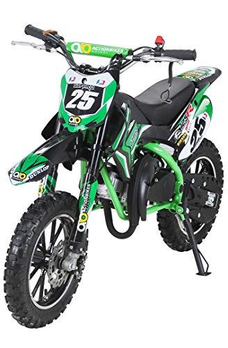 Actionbikes Motors Mini Kinder Crossbike Gepard 49 cc - Scheibenbremsen - Sportluftfilter - Sportauspuff - Luftbereifung (Grün)