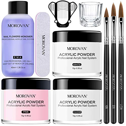 Morovan Acrylic Nail Kit Acrylic Powder and Professional Liquid Monomer set...