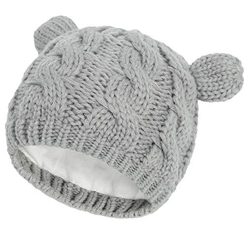 Yixda Juego de gorro y guantes para bebé recién nacido para invierno Gris 1 0-3 Meses