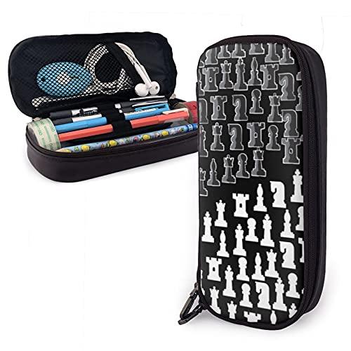 mengmeng Schachfiguren in einem Yin & Yang für einen Schachspieler, Leder, großes Fassungsvermögen, Stifttasche, Schreibwaren-Organizer