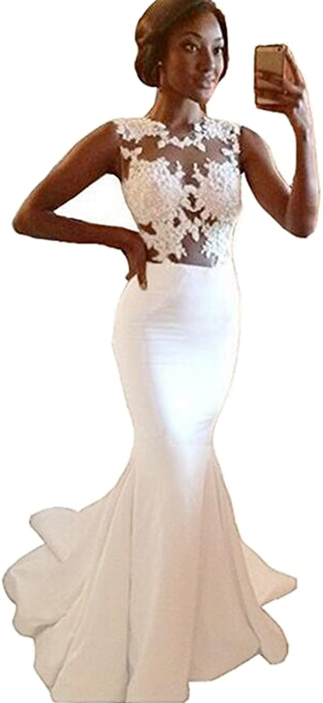 Honeydress Women's Sexy Mermaid Floral Lace Floor Length Train Evening Dress